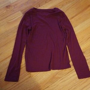 Burgundy long sleeve tissue tee